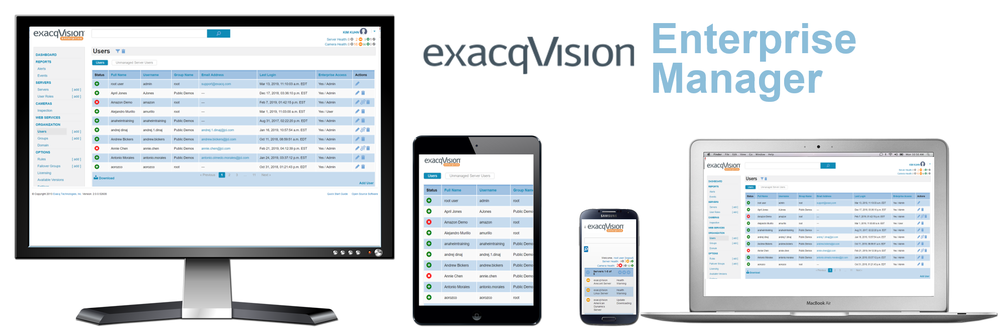 exacqVision Enterprise System Manager to monitor IP camera and network video recorder health