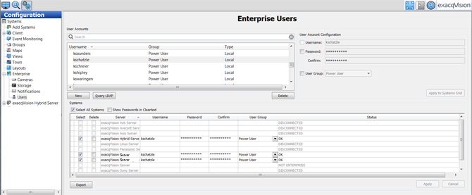 Enterprise vms user setup